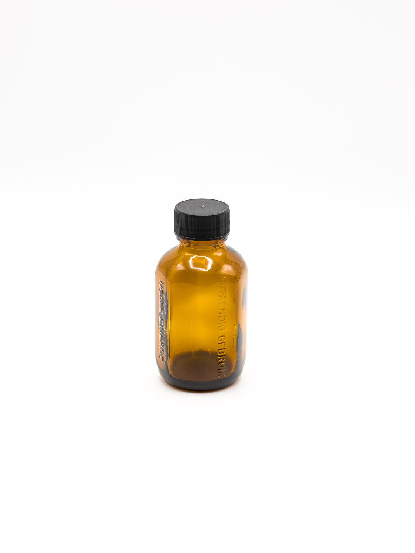 fles bruin glas model UITWENDIG GEBRUIK PP28 100 ml + zwarte schroefdop / 30 stuks