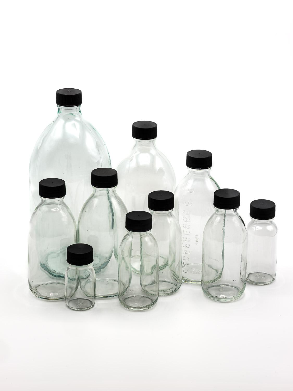bottle white glass model OBUS PP28 + black screw cap (small package)
