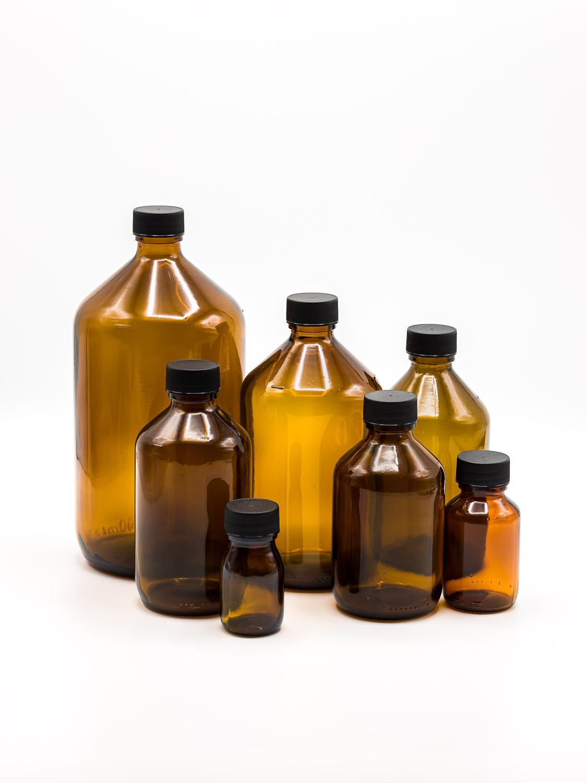 bottle brown glass model VERAL PP + black screw cap (small package)
