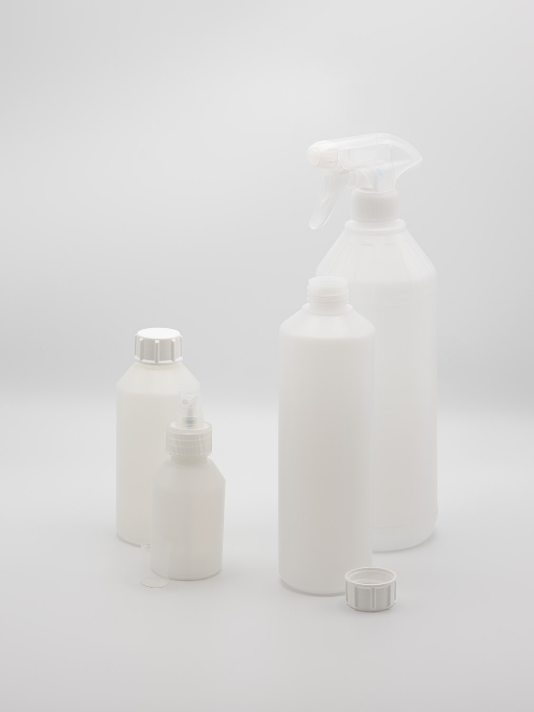 Bottle of plastic HDPE hard natural