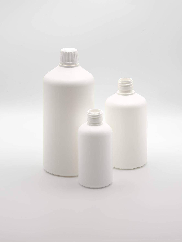 Bottle of plastic HD-PE hard white colored