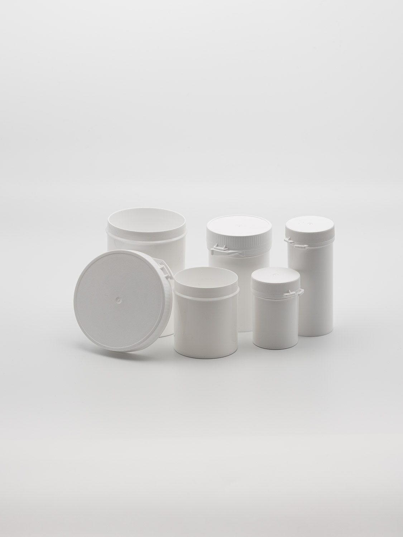 Snap-secure powder pots white HDPE